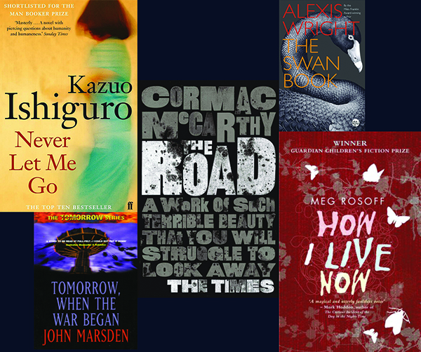 black background with five book covers: Never Let Me Go by Kazuo Ishiguro, Tomorrow, When The War Began, The Road by Cormac McCarthy, The Swan Book by Alexis Wright, How I Live Now by Meg Rosoff