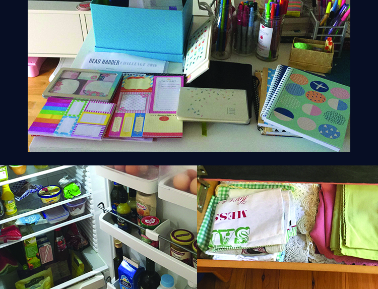 Top image: a pile of stationary on a desk, including notebooks, a lots of sticky notes, jars of pens and a 2016 planner. Bottom left: open fridge door showing a clean and tidy fridge. Bottom right: a pile of neatly folded teatowls and table cloths