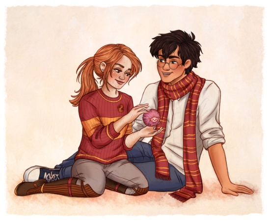 a drawing of Harry and Ginny sitting together on the ground.