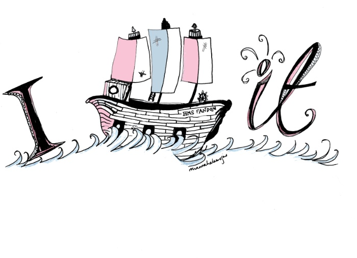 A drawing of the Letter I, a ship and then the word 'it' on waves