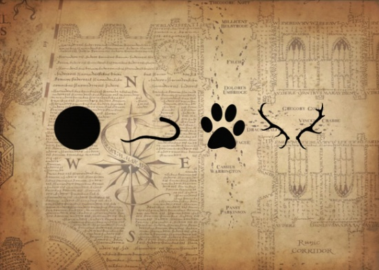 Graphic with a part of the Maurarder's Map in the background. In the forground is four symbols in solid black: a circle, a rat tail, a paw print and stag antlers
