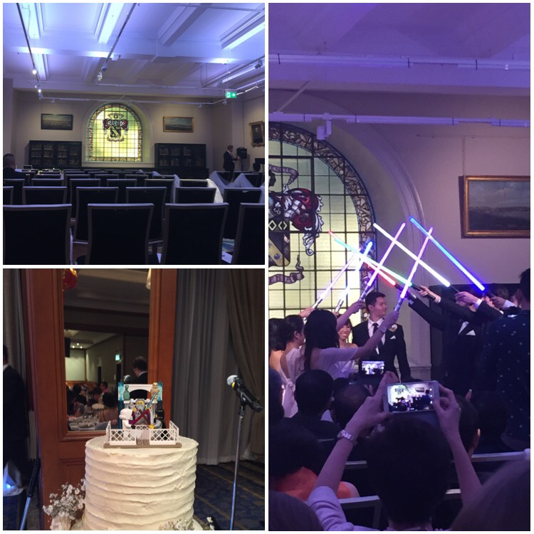 Collage of three photos. Top left is an empty room, it is the reading room at the NSW State Library. Bottom left shows a wedding cake with lego minifigs in a light saber battle as the topper. Right shows an Asian bride and groom walking through their bridal party as they hold up lightsabers to form a tunnel.