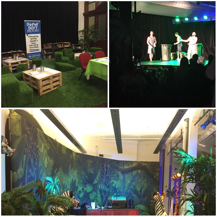 A collage of three photos. Top left is a collection of wooden crates with paper and tins with pencils. The floor and seating are covered in fake grass. Top right is a dark room with a stage in the middle. There are three indestinguisable people standing on the stage in a spotlight next to a wheelie bin. Bottom photo is a room decorated with fake plants and zebras to resemble a jungle, at the back of the room is a coffee machine.