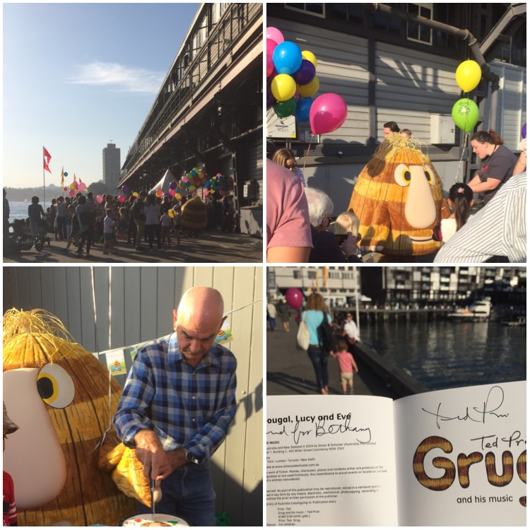 Collage of four photos. Top left shows a ground of people with balloons. Top right shows a crown of people around a person in a Grug costume. Bottom left shows the Grug constume with a bald white man in a blue check shirt cutting a cake. Bottom right shows a book open to the title page. It says Grug and his music and is signed by Ted Prior, the author.